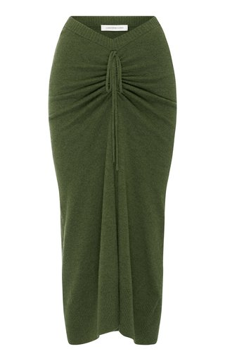 Ruched Wool-Cashmere Drape Skirt