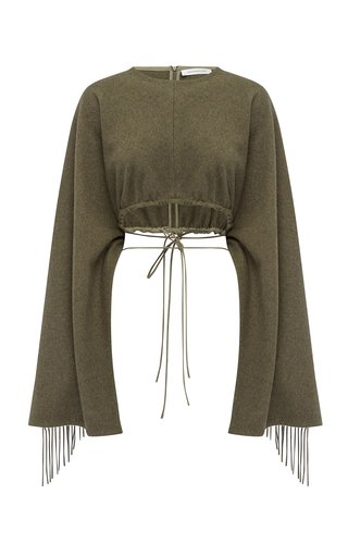 Tasseled-Sleeved Wool-Knit Scarf Top