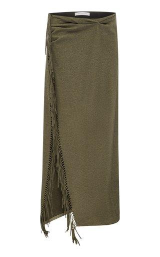 Tassel Sarong Wool-Knit Skirt