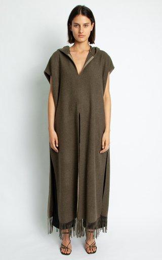Hooded Tasseled Wool-Blend Poncho