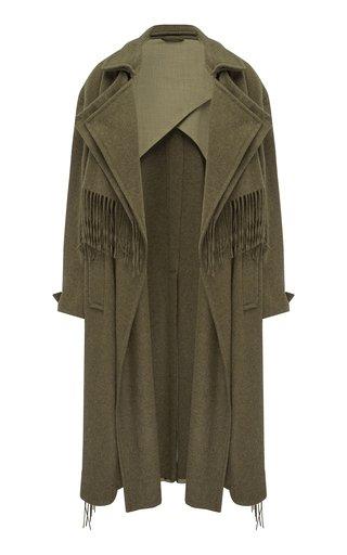 Tasseled Wool-Blend Trench Coat