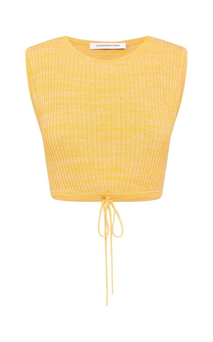 Wrap-Tie Cropped Knit Top