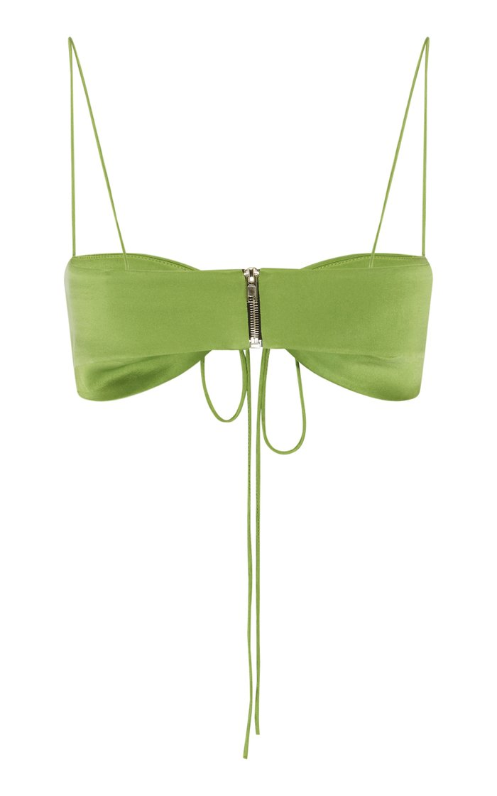 Ruched Silk Bandeau Top
