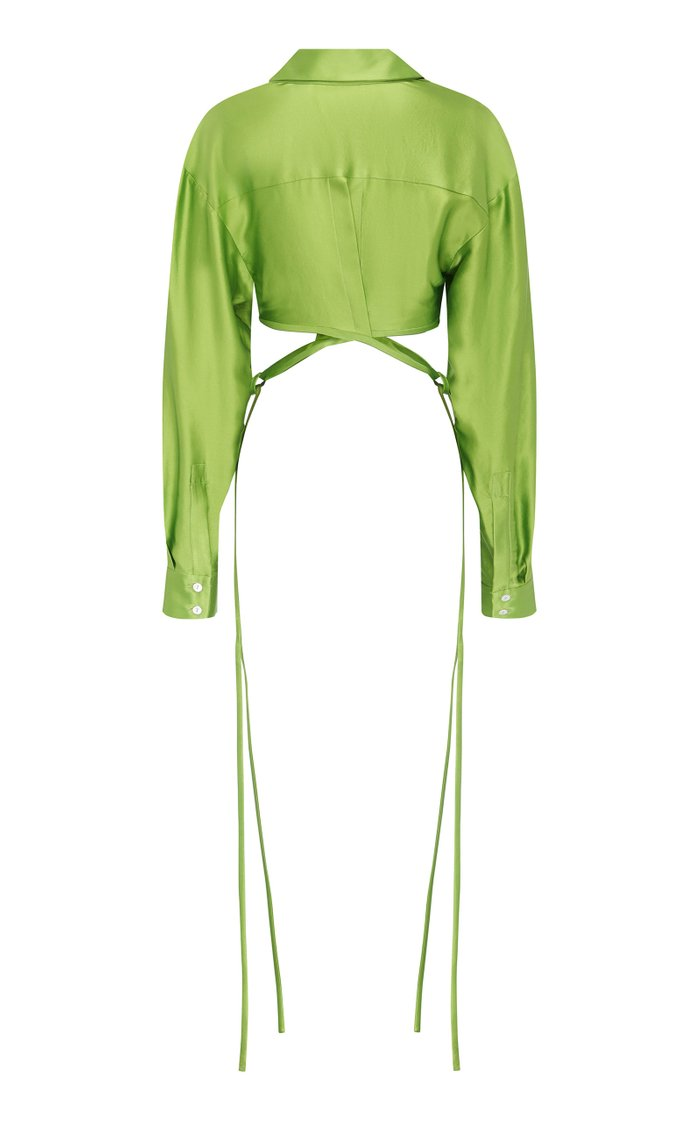Cropped Silk Wrap Shirt