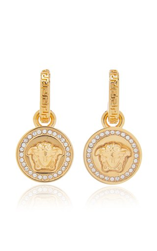 Greca and Medusa Crystal-Embellished Drop Earrings