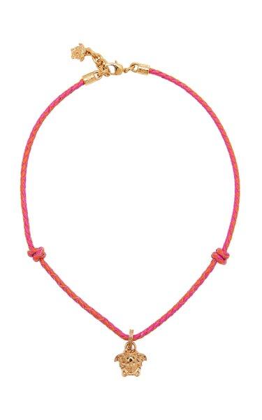 Medusa Pendant Leather Necklace