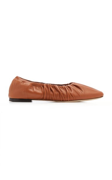 Tuli Ruched Leather Flats