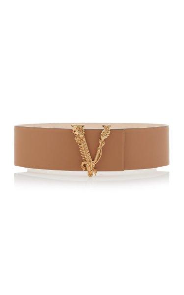 Gold-Tone Virtus Leather Belt