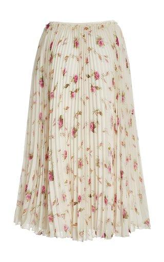 Pleated Printed Chiffon Midi Skirt