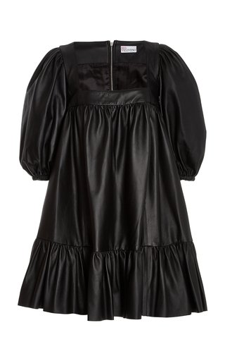 Tiered Leather Mini Dress