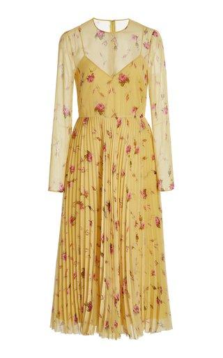 Pleated Printed Chiffon Midi Dress