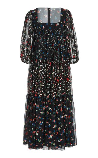 Tiered Mixed-Floral Chiffon Midi Dress
