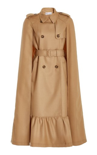 Belted Wool Gabardine Double-Breasted Cape