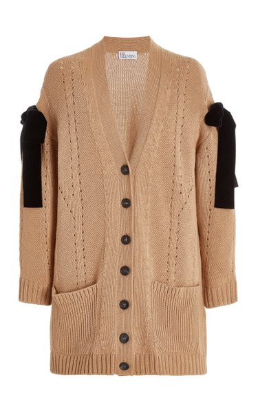 Bow-Trimmed Pointelle-Knit Cardigan