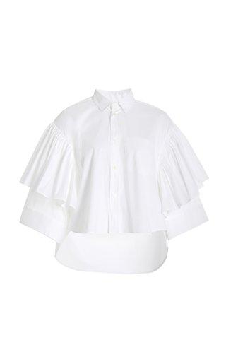 Ruffled Stretch Cotton-Blend Poplin Shirt