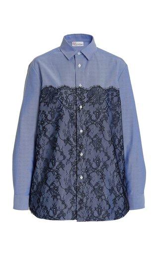 Lace-Paneled Cotton-Blend Oxford Shirt