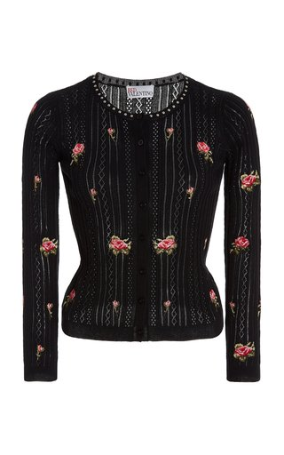 Embroidered Pointelle-Knit Cotton Cardigan