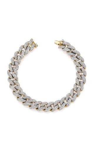 18K Yellow Gold Pave Diamond Essential Link Bracelet
