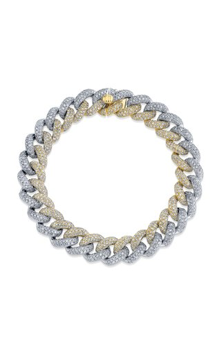 18K Yellow Gold Two Tone Pave Diamond Link Bracelet