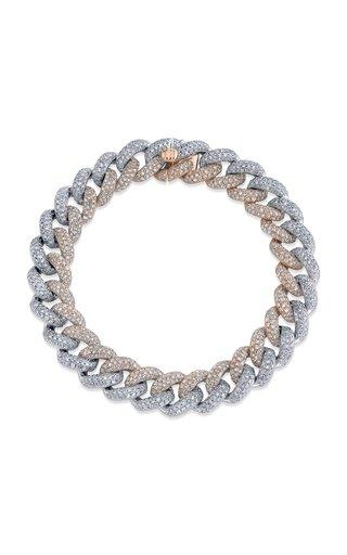 18K Rose Gold Two Tone Pave Diamond Link Bracelet