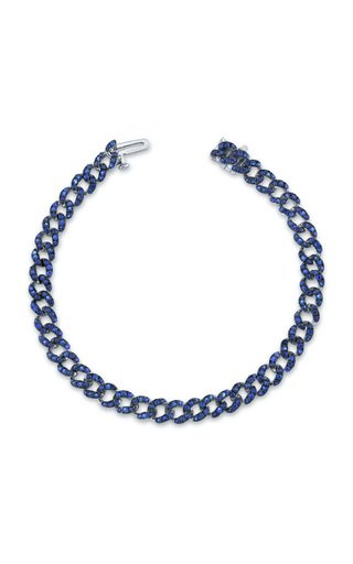 18 White Gold Blue Sapphire Mini Link Bracelet