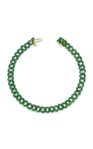 18K Yellow Gold Emerald Mini Link Bracelet