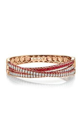 18K Rose Gold Three Sided Diamond & Ruby Orbit Bracelet
