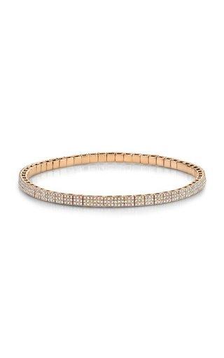 18K Rose Gold Pave Diamond Square Stretch Bracelet