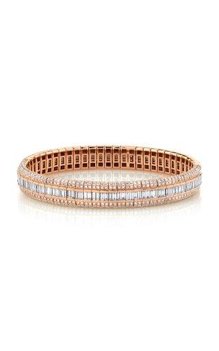 18K Rose Gold Pave Diamond Scales Stretch Bracelet