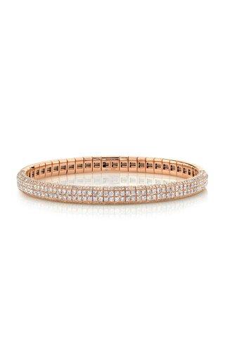 18K Rose Gold Double Row Pave Stretch Bangle Bracelet