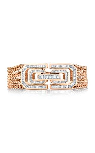 18K Rose Gold Baguette Deco Lock Link Bracelet