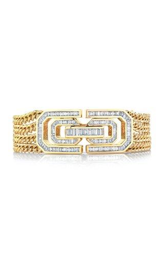18K Yellow Gold Baguette Deco Lock Link Bracelet