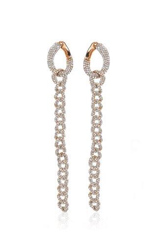 18K Rose Gold Long Pave Diamond Chain Link Earrings