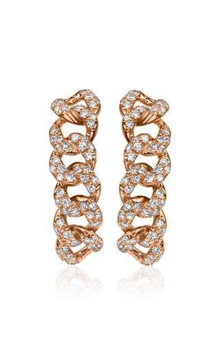 18K Rose Gold Essential Six Diamond Link Huggie Earrings