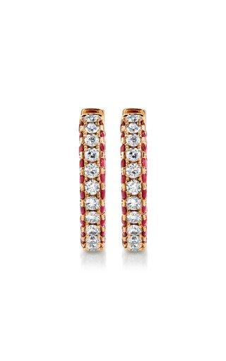 18K Rose Gold Diamond & Ruby Three Sided Hoop Earrings