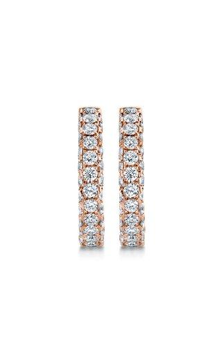 18K Rose Gold Three Sided Diamond Hoop Earrings