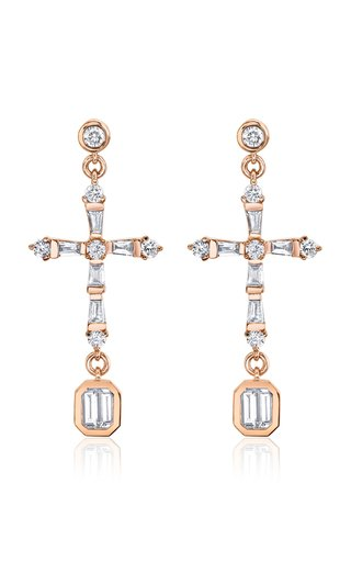 18K Rose Gold Diamond Baguette Cross Drop Earrings