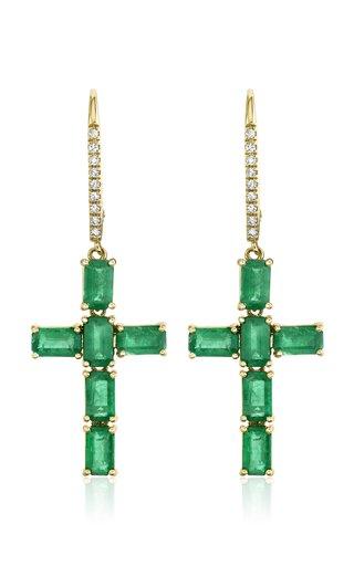 18K Yellow Gold Emerald Cross Earrings