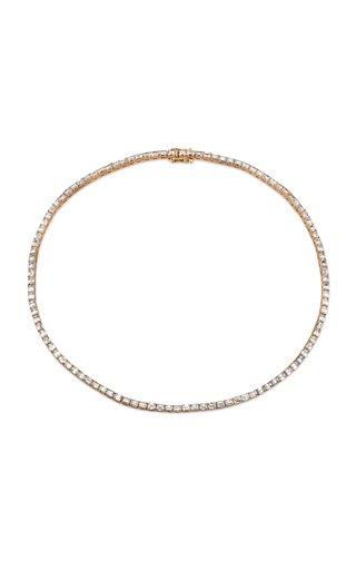 18K Rose Gold Emerald Cut Diamond Tennis Necklace