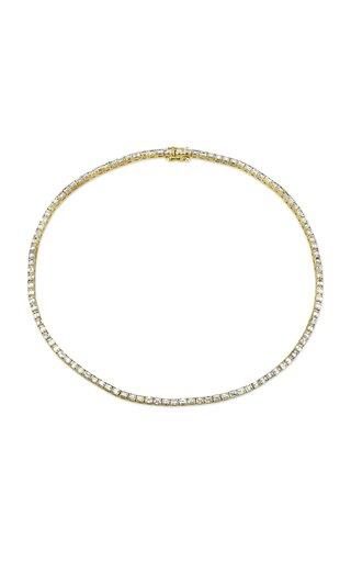 18K Yellow Gold Emerald Cut Diamond Tennis Necklace