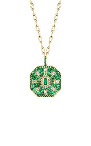 18K Yellow Gold Diamond & Emerald Sun Disk Pendant Necklace