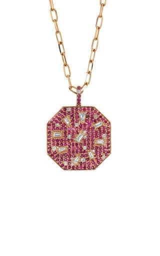 18K Rose Gold Diamond & Ruby Speckled Disk Pendant Necklace