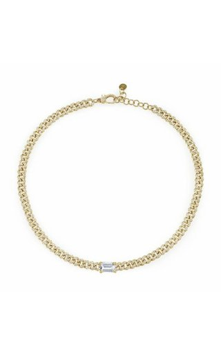 18K Yellow Gold Diamond Emerald Cut Link Choker