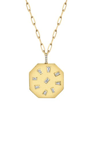 18K Yellow Gold Speckled Diamond Disk Necklace