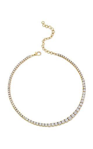 18K Yellow Gold Gradual Diamond Tennis Necklace