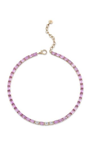 18K Rose Gold Pink Sapphire Tennis Necklace with Diamond Accents