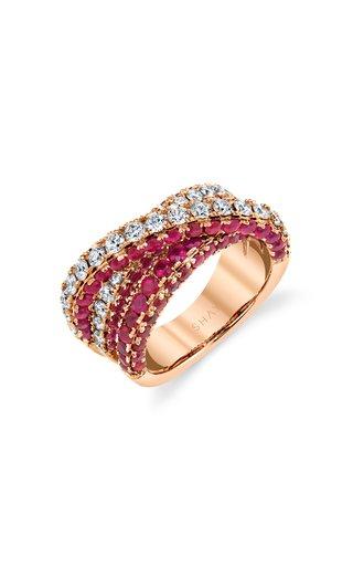 18K Rose Gold Diamond Ruby Three Sided Orbit Ring