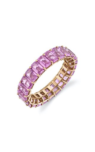 18K Rose Gold Pink Sapphire Eternity Ring