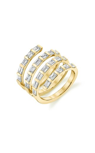 18K Yellow Gold Quad Baguette Diamond Spiral Ring