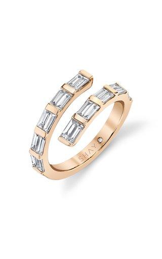 18K Yellow Gold Dual Spiral Baguette Diamond Ring